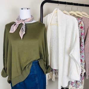 Elan Olive Green Slouchy Sweater